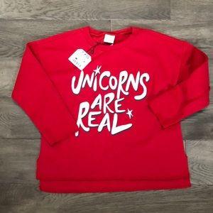 Girls Zara red Unicorns are Real sweatshirt, NWT